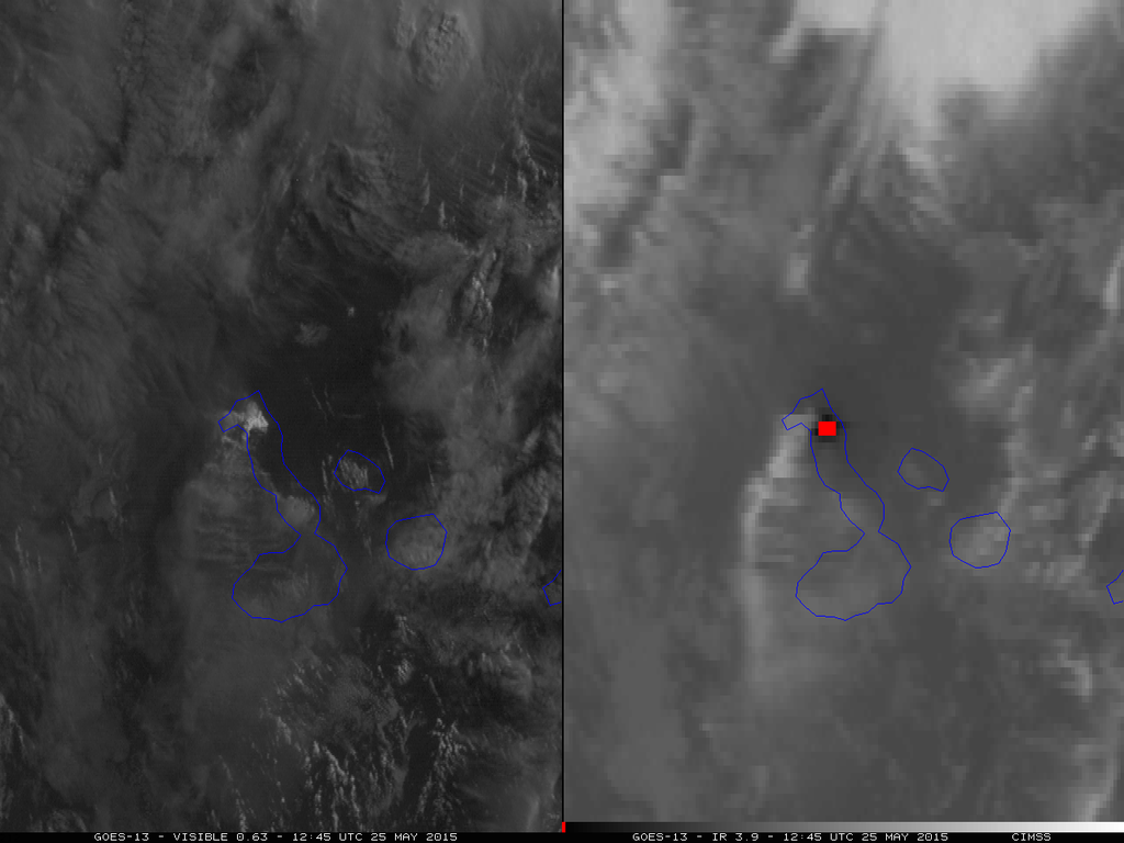 Wolf - 25.05.2015 - eruption in the ranges of the visible & IR by the satellite Goes - in blue, the outline of the islands - via cimss.ssec.wisc.edu