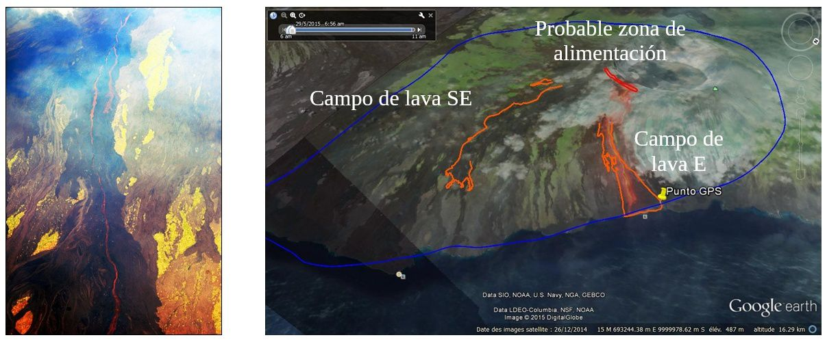 Wolf - location of the eruptive fissure and lava flows - in blue, path of the overview - Doc. IGEPN
