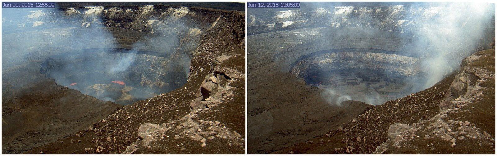 Hawaii / Kilauea - lac de lave de l'Halema'uma'u : Fluctuations du niveau entre le 8 et le 12 juin 2015 - un clic pour agrandir -  photos HVO- USGS