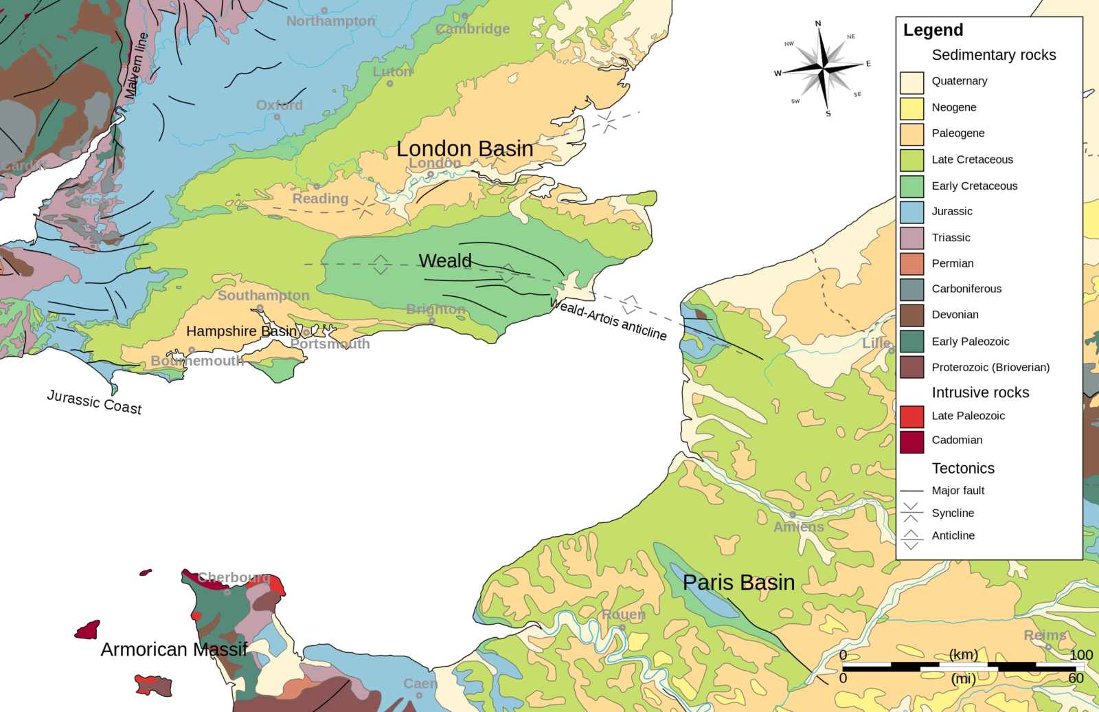 Location of the anticline Weald - Artois - Doc. Wikipedia