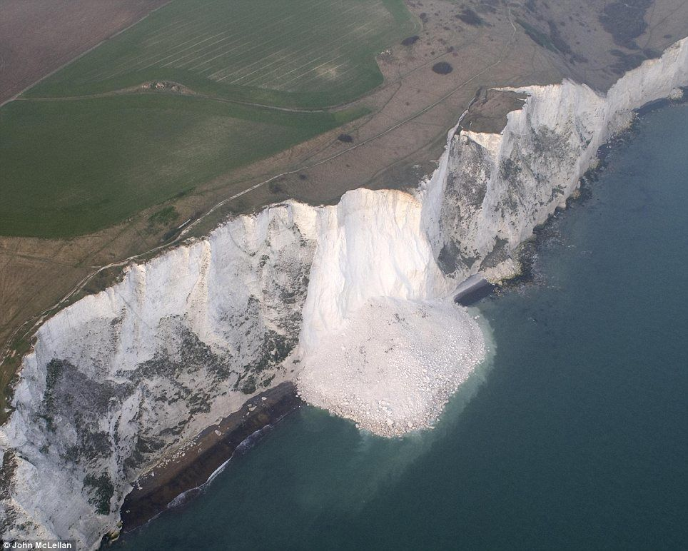 Dover cliffs - the cliff-fall happened between Langdon Cliffs and South Foreland Lighthouse - photo John Mc Lellan / the Daily Mail 2012