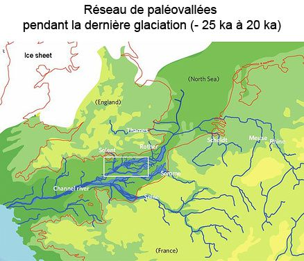 Above, Network of paleovalleys during the last glaciation, 25,000 to 20,000 years ago - down, the River Channel to the same period - Doc. The Channel River during the Last Glacial Maximum (20 -25à-ka), alleging Toucanne (2007), modified Elhers and Gibbard (2004)