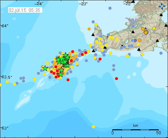Seismic swarm on the Reykjanes Ridge - Doc. IMO the 07/02/2015