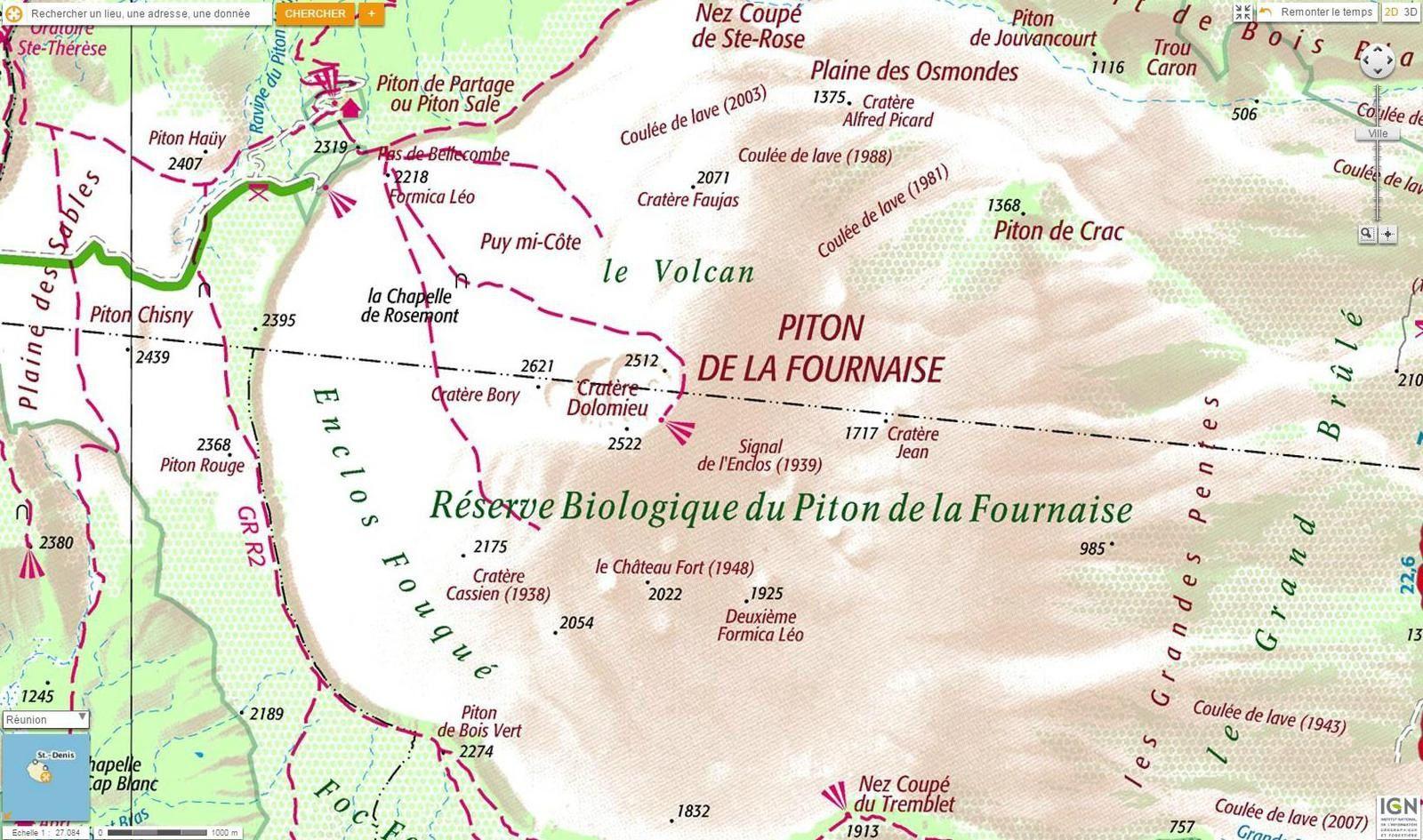 Piton de La Fournaise - les sentiers autorisés avant le 06.07.15 - doc. Actus météo 974