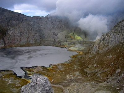Sirung - its caldera and acid lake - photo Gary Holto (Creative Commons)