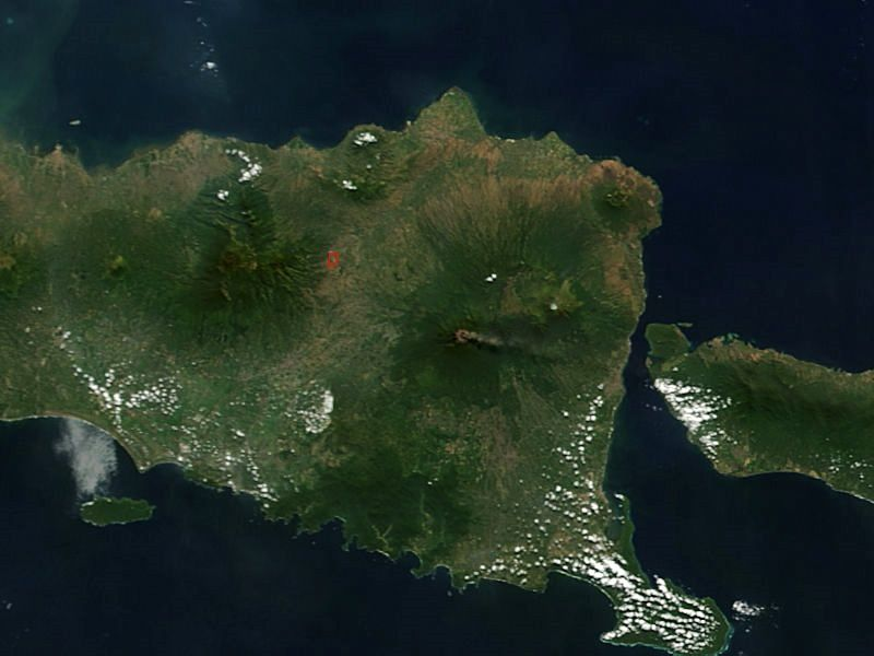 Gunung Raung / Java - the ashes are moving towards the east and the island of Bali - from a satellite photo of the NASA Terra Modis (pixel size 250m) / https://earthdata.nasa.gov
