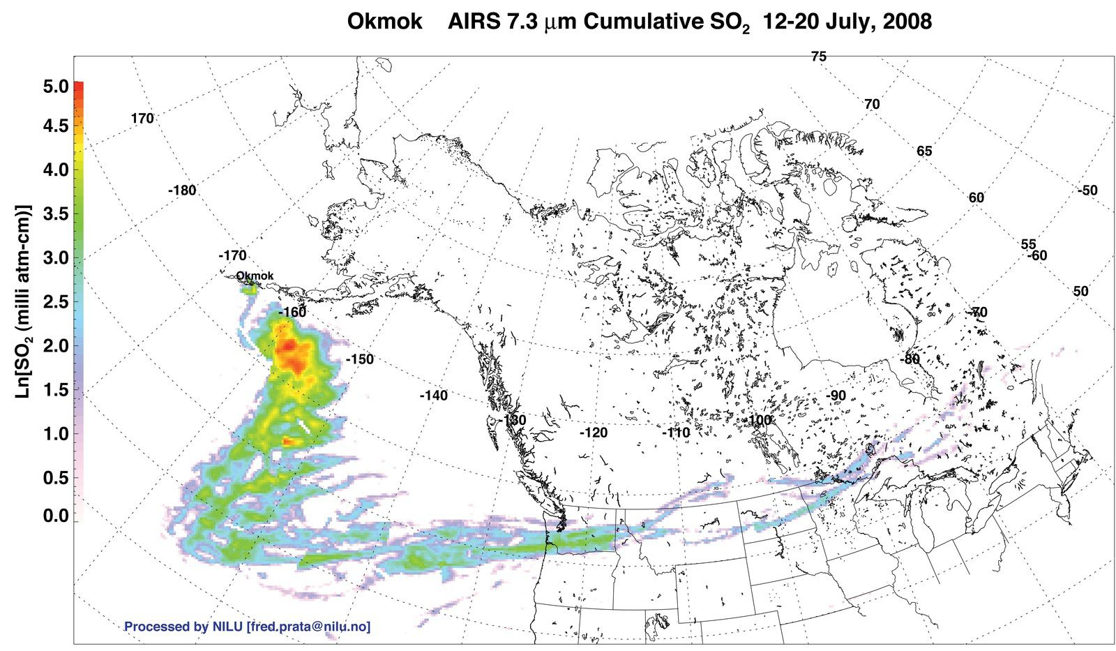 Okmok - cumulative emissions of sulfur dioxide from 12 to 20.07.2008 - Doc. NILU / Nasa Earth Observatory