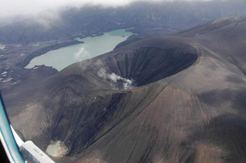 Caldera of Okmok - the newly formed cone and lake - Doc. AVO