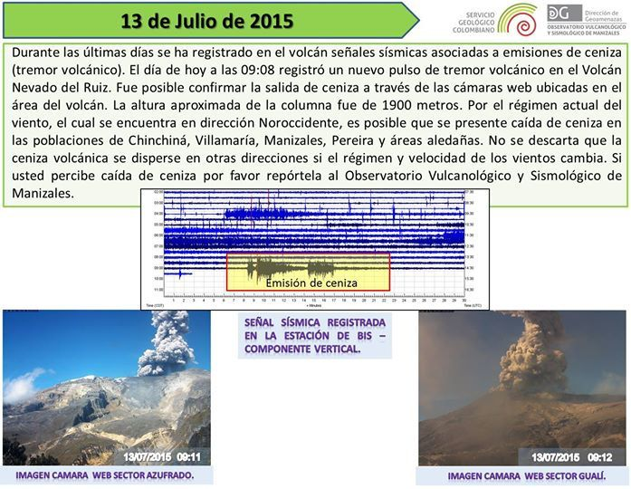 Nevado del Ruiz - plumes and tremor of 13.07.2015 - Volcano Observatory in Manizales