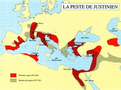 "The Byzantine Empire under Justinian - doc histocollège - and the areas of The ""Plague of Justinian"""