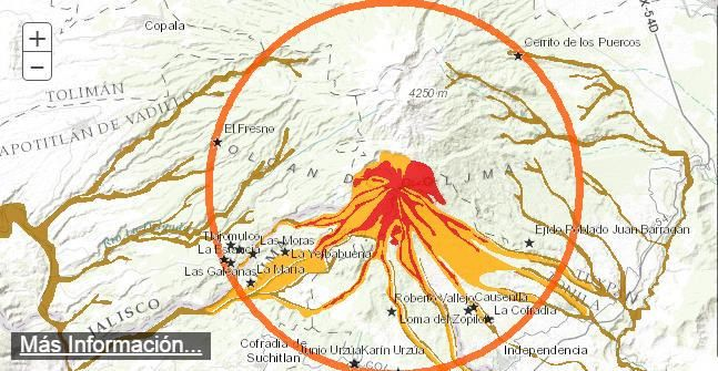 Map of the potential risks of Colima and the forbidden zone of 12 km. - Via Luis Felipe Puente