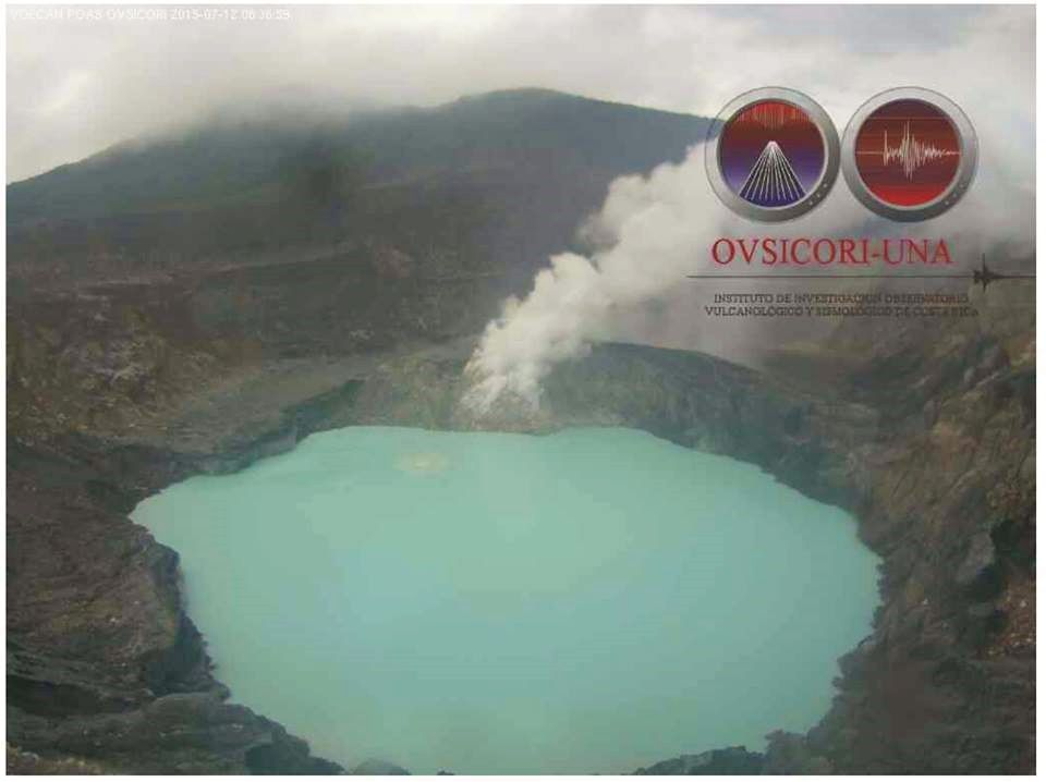 Poas, et sa Laguna Caliente, le 12.07.2015 / 8h36 – photo webcam OVSICORI-UNA / USAID-OFDA