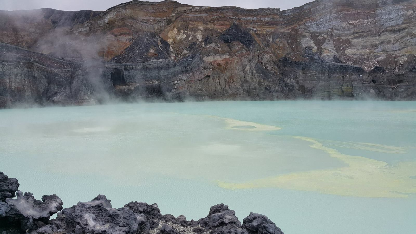 Laguna Caliente of the Poas 14/07/2015: temperature increase and sulfur lifts - photos Raúl Mora-Amador / RSN