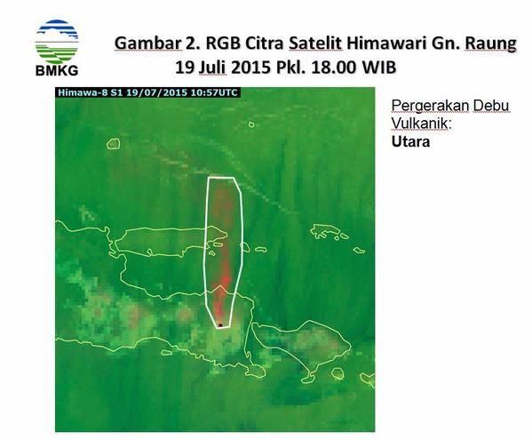 Raung : the ashes of the northward movement - Satellite Image Citra le19.07.2015 / 10:57 - doc.BMKG