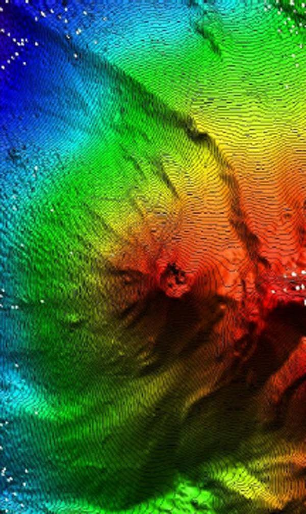 Bathymetry of Kick'em Jenny - Doc. NOAA / Research Vessel Ronald H. Brown / March 2002 / GVP