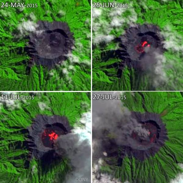 Raung - evolution of the summit caldera between June 25 and July 27 - Doc Citra satellite / via Sutopo Purwo Nugroho / BNPB / Twitter
