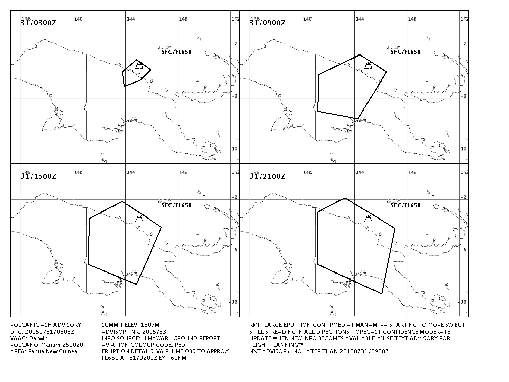 Ash dispersion advisory of the eruption of Manam - Doc. VAAC Darwin 31/07/2015