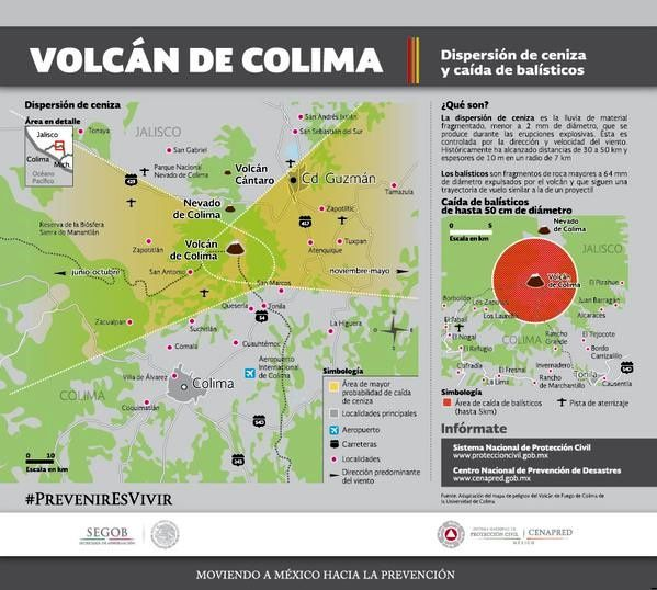 Colima, ash dispersion and risk of lahars map - Doc. Proteccion Civil SEGOB