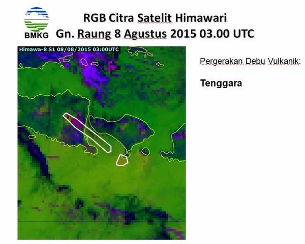 Raung - dispersion des cendres ce 08.08.2015 / 03h00 UTC  - doc. RGB Citra Satellite Himawari-8 / via BMKG