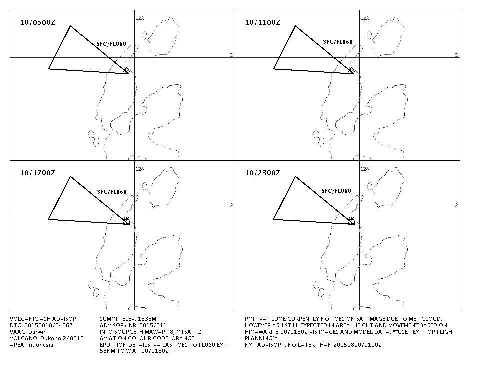 Prévision de déplacement des cendres du Dukono le 10.08.2015 - doc. VAAC Darwin