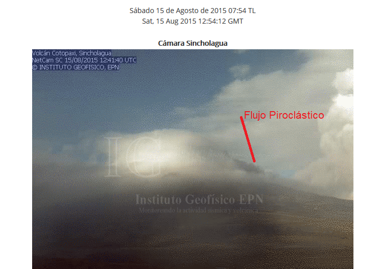 Cotopaxi - Coulée pyroclastique - Doc. webcam IGEPN