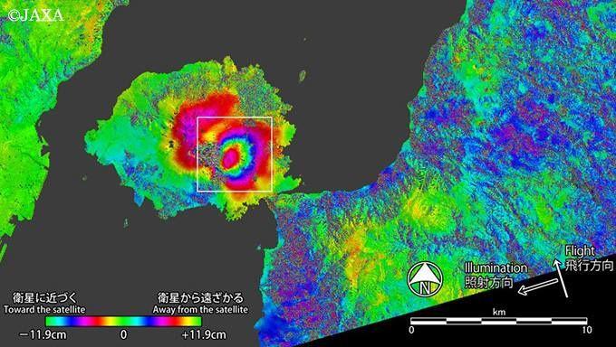 Sakurajima - Deformations mesurées entre le 4 janvier et le 17 août par le satellite Alos-2 de Jaxa / GSI