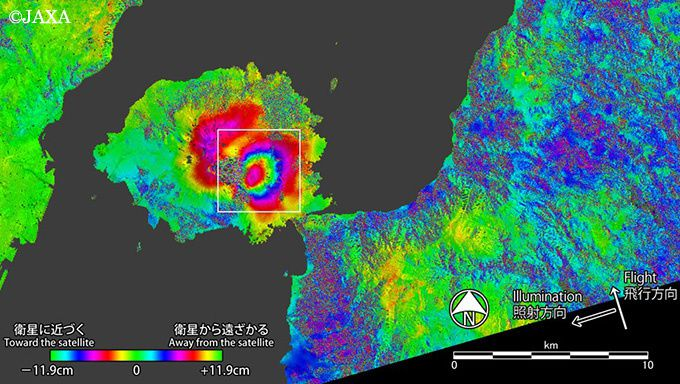 Sakurajima - Deformations measured between 4 January and 17 August Alos satellite Jaxa-2 / GSI