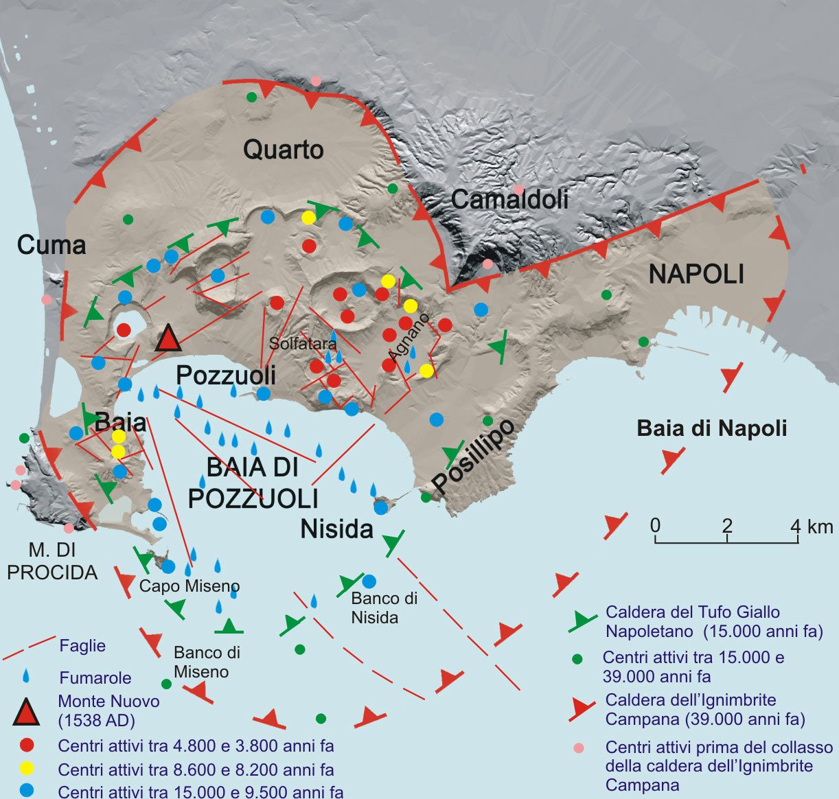 Campi Flegrei - the two major caldera and post-caldera activity centers - Doc. Ridisegnato e modificato da Santacroce et al. (2003)