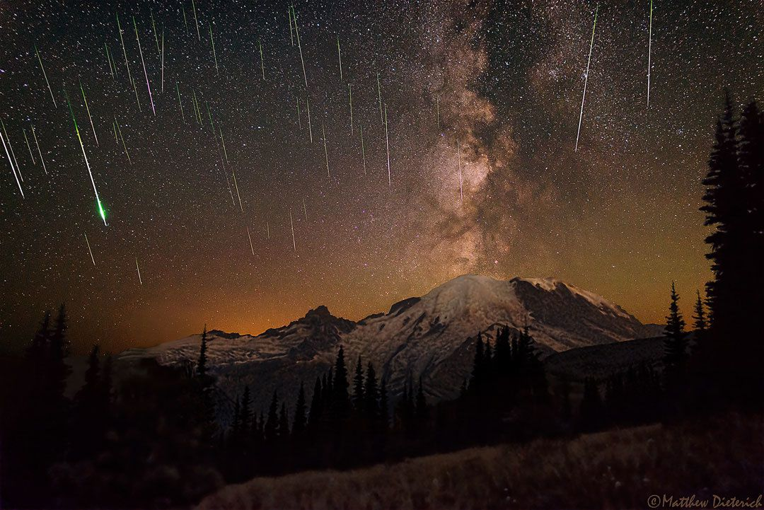 "Astronomy Picture of the Day - ""Meteors and Milky Way over Mount Rainier"" -  Image Credit & Copyright: Matthew Dieterich"