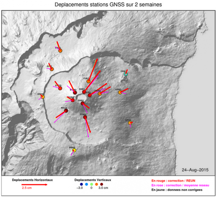 Seismic activity of the Piton de La Fournaise in August 2015- Doc. OVPF / IPGP