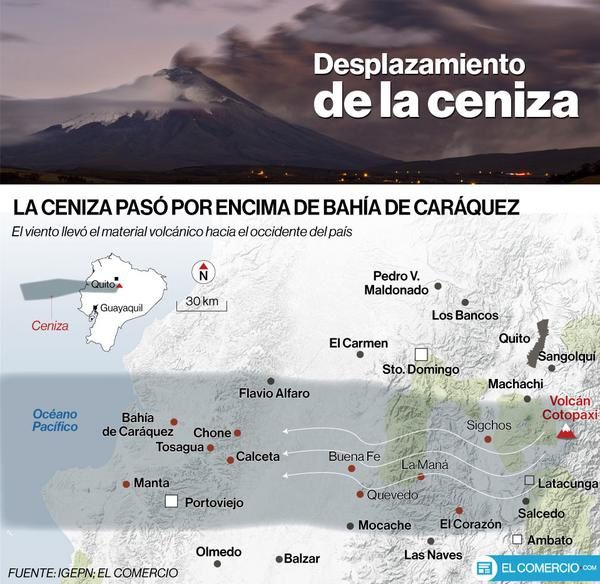 Ash dispersal area issued by the Cotopaxi - Doc. IGEPN / El Comercio.