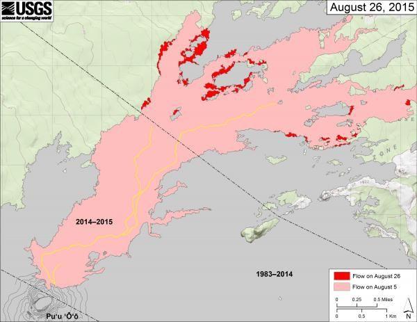 Kilauea / Pu'u O'o - carte des coulées le 26.08.2015 ... juste avant le nouveau breakout - doc. HVO
