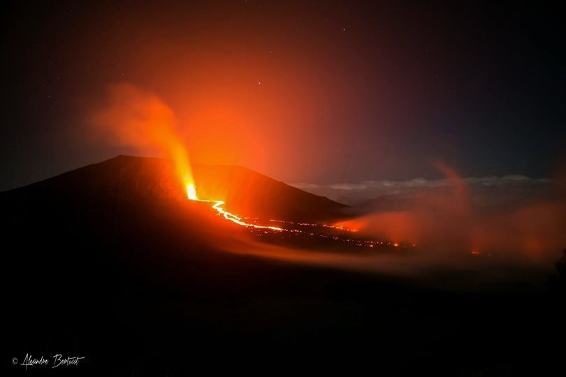 Current eruption at Piton de la Fournaise - photo Alexander Bertucat undated info on Furnace