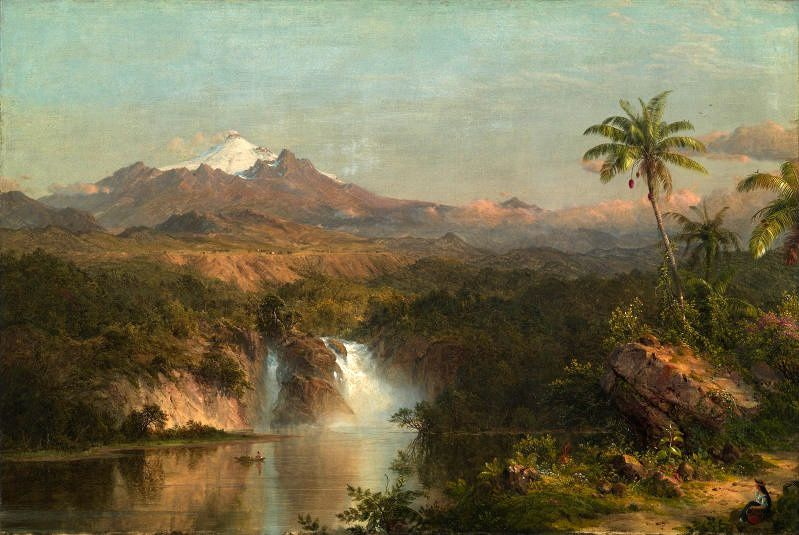 Frederic Edwin Church, Cotopaxi, 1855 - Oil on canvas, 7x16 inches.- Courtesy of The Museum of Fine Arts, Houston
