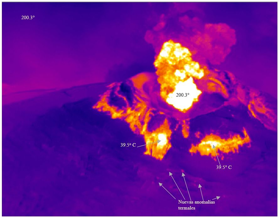 Cotopaxi - temperature measurements with IR camera on the volcano's SE sector (Foto P. Ramón IGEPN).