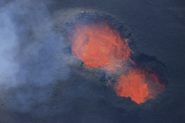Piton de la Fournaise - the lava lake has halved in the eruptive cone - photo OVPF