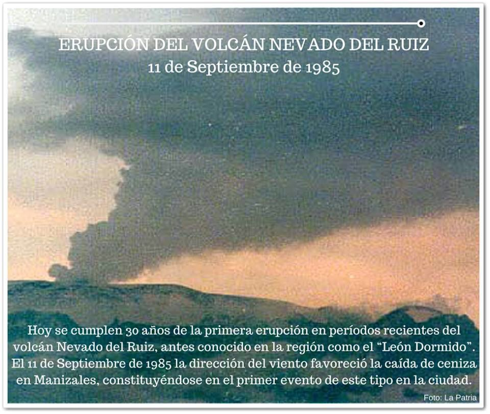 Nevado del Ruiz - 11.09.1985 - photo d'archives LA PATRIA / Twitter