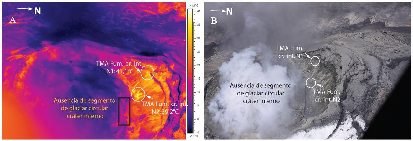 Cotopaxi - nouvelles zones de fumerolles à la caméra thermique et leur localisation photo - image et photo de S. Vallejo / P. Ramón, IGEPN