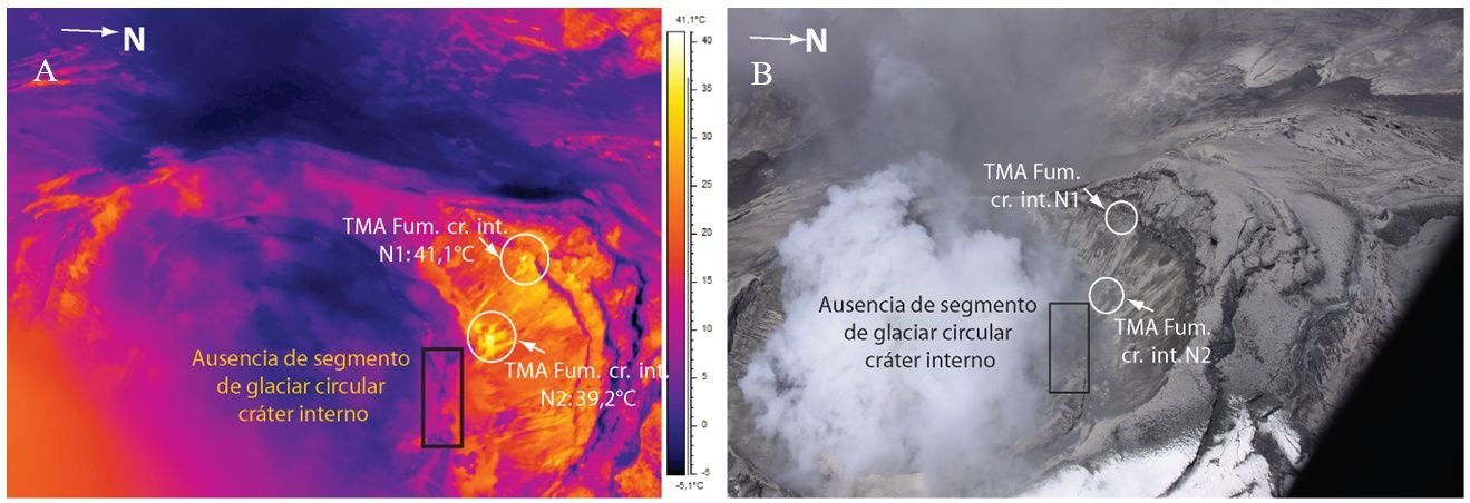 Cotopaxi - new areas of  fumaroles with the thermal camera and her photo location - image and photo S. Vallejo / P. Ramón, IGEPN