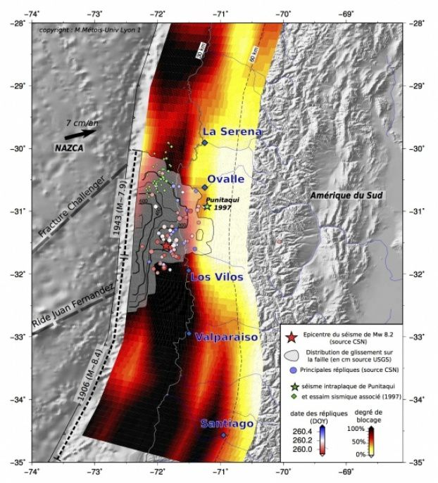 Earthquake Coquimbo / Chile - blocking Degree and slip distribution - Source: Original figure of Marianne METOIS Geology Laboratory of Lyon-Earth Environment (CNRS, Université Claude Bernard, Lyon ENS)