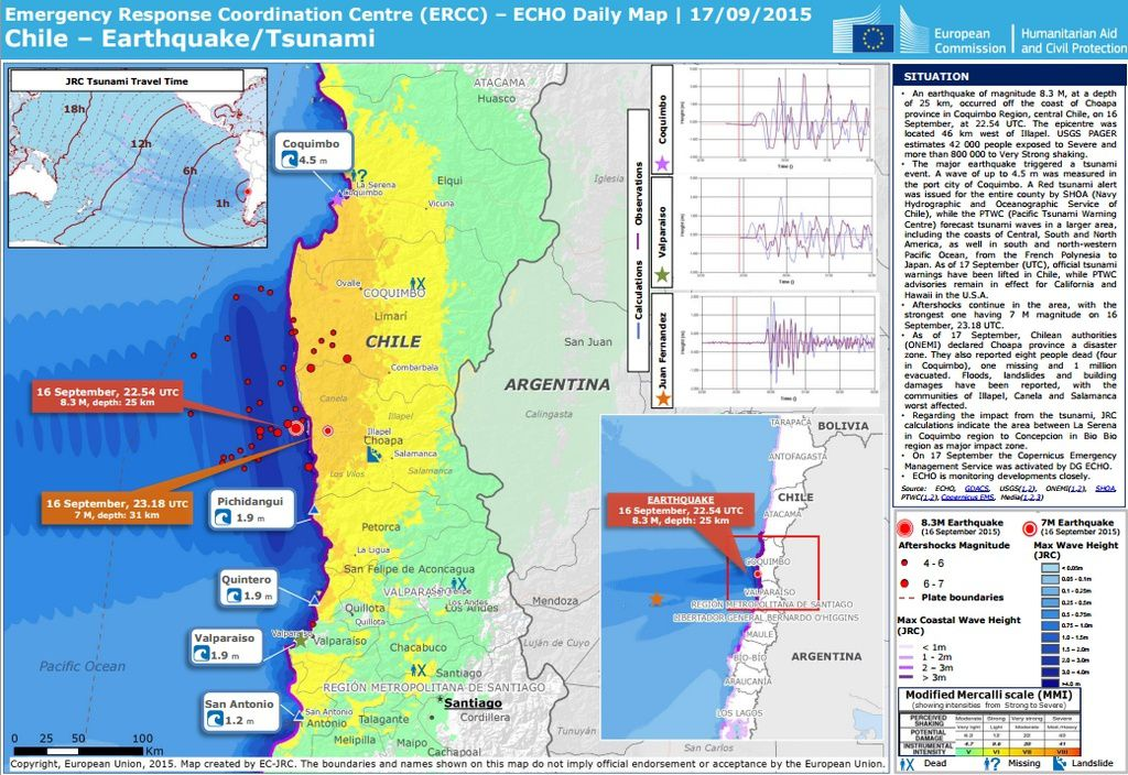 Earthquakes and tsunami - Doc. ERCC / Daily Echo map 09/17/2015