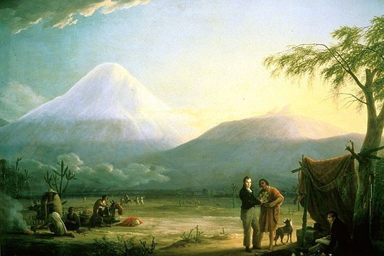 A. von Humboldt and A. Bonpland in Chimborazo - painting from Friedrich Georg Weitsch 1810