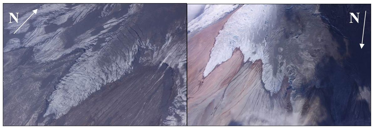 Cotopaxi overview of 09/22/2015 - fracturing and melting of the base of glacier tongues, left, on the SW flank and right, on the side N-NO - Ramón P. Photo / IGEPN
