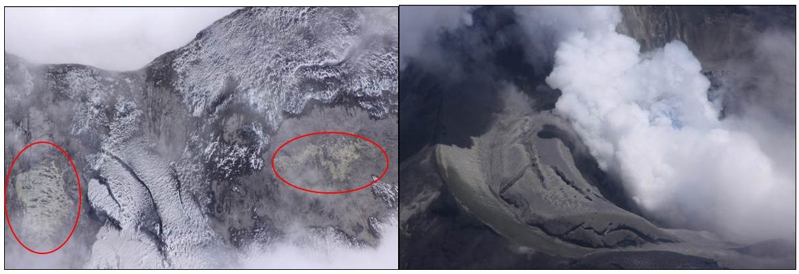 Cotopaxi overview of 09/22/2015 - left, greenish-yellow deposits on the SE and E sides, in areas where the fumerolienne activity increased. Right, similar deposits in the inner ring of the arena and the SW sector of the circular glacier - Photo: Ramon P. / IGEPN