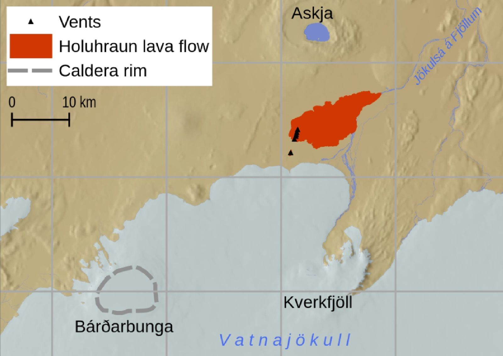 Overview of the 2014–2015 eruption at Holuhraun showing (a) the locations of the Icelandic towns and volcanoes, including the Bárðarbunga-Veiðivötn volcanic system. The red rectangle outlines the region shown in Figure 1b. (b) Map showing the Bárðarbunga caldera (dashed gray line) and the lava flow field and vents of the 2014–2015 eruption. The extent of the lava flow was digitized from a SENTINEL radar image produced by the University of Iceland. Vent locations have been drawn from Operational Land Imager (on Landsat 8) acquired on 6 September 2014 - doc. Dr.Anja Schmidt & al réf en sources