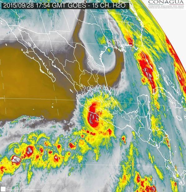 Mexique - localisation par le satellite GOES de l'ouragan MARTY - 28.09.2015 / 17h54 - doc CONAGUA / SEGOB