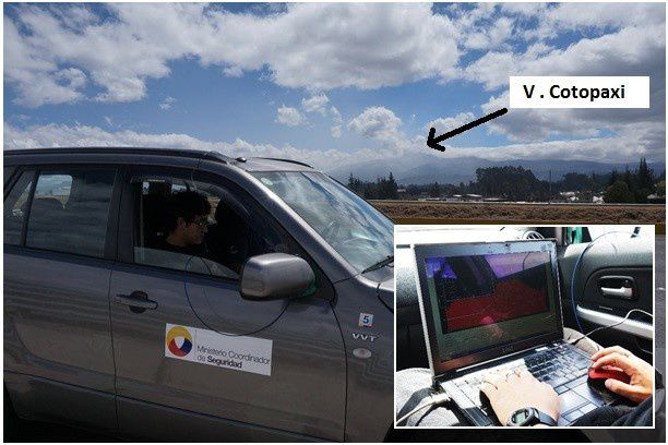 Cotopaxi -  concentrations of SO2 in plume measurements by the mobile DOAS by teams of IGEPN