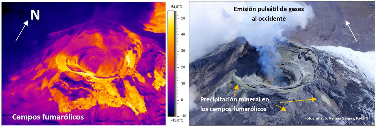 Cotopaxi - fumeroliens fields and gas pulsatile emission - Photo: S. Vallejo / IGEPN