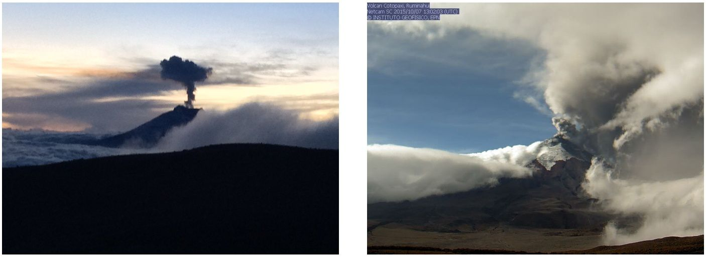 Cotopaxi, emissions of ash - left, the 03.10.2015 / Photo Barga Diego - right, on 07.10.2015 / IG webcam