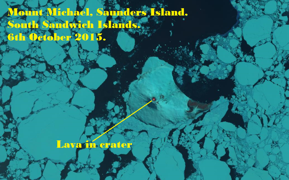 Saunders island - Mt Michael - thermal anomaly 06/10/2015 - doc Landsat 8 / OLI & TIRS